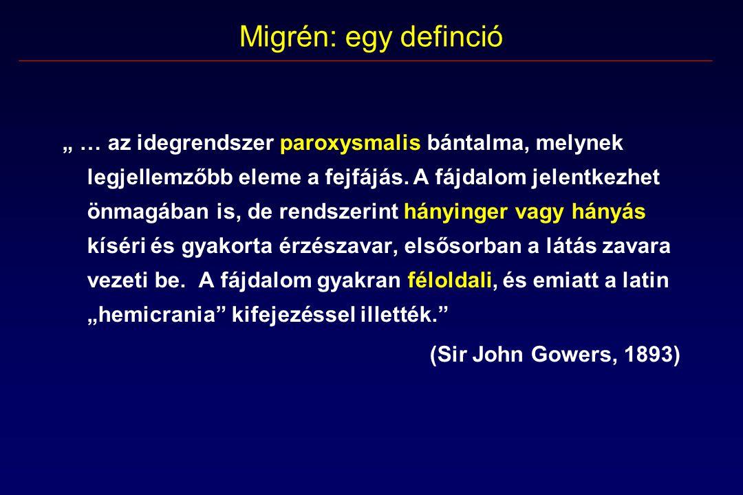 """Migrén: egy definció """" … az idegrendszer paroxysmalis bántalma, melynek legjellemzőbb eleme a fejfájás."""