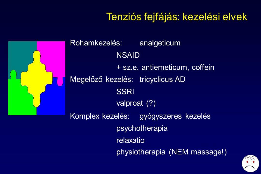 Tenziós fejfájás: kezelési elvek Rohamkezelés:analgeticum NSAID + sz.e.