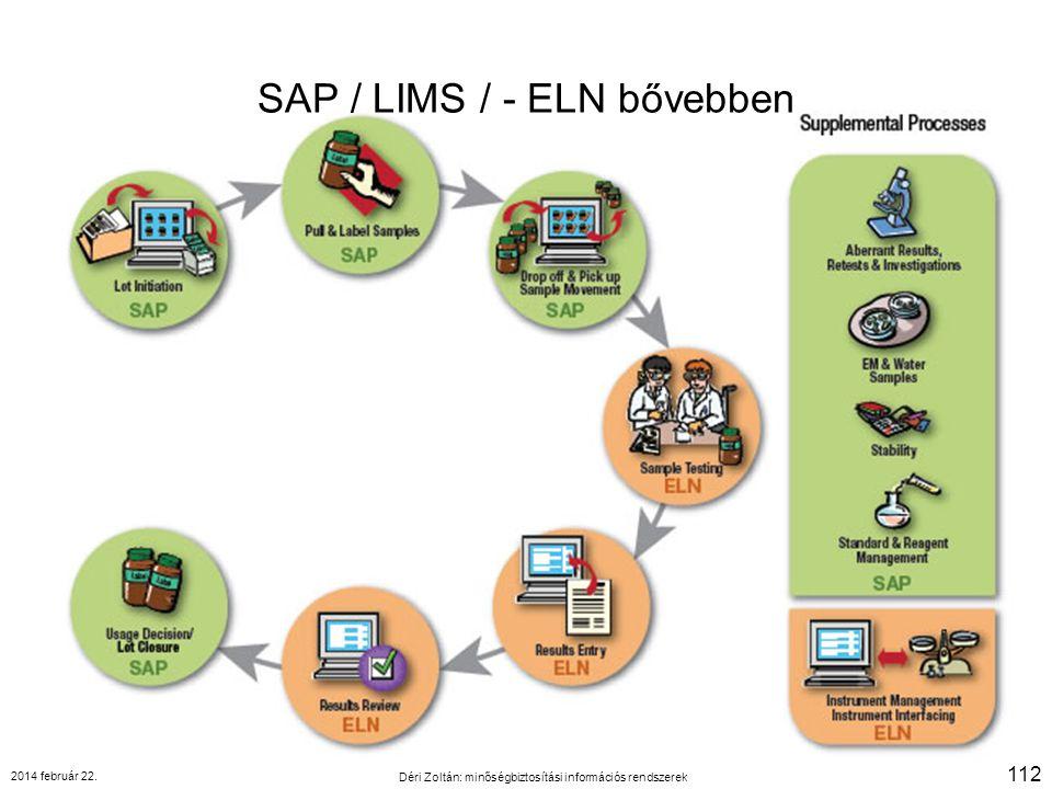 SAP / LIMS / - ELN bővebben 2014 február 22. Déri Zoltán: minőségbiztosítási információs rendszerek 112