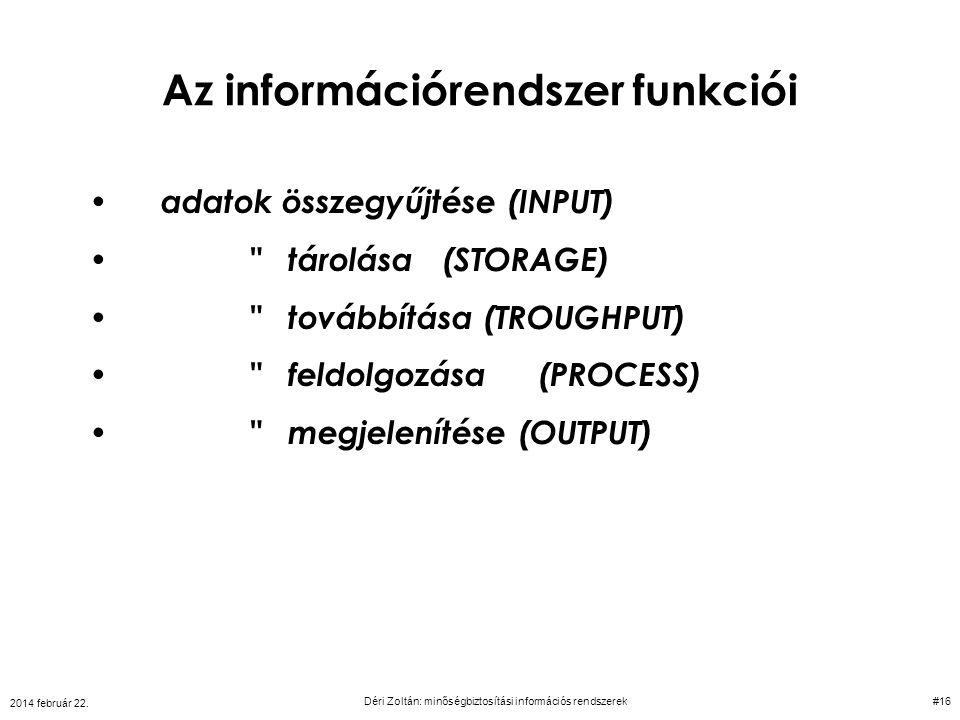 Az információrendszer funkciói adatok összegyűjtése (INPUT)