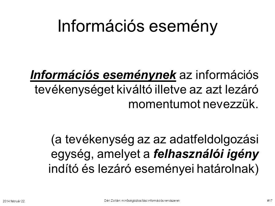 Információs esemény Információs eseménynek az információs tevékenységet kiváltó illetve az azt lezáró momentumot nevezzük. (a tevékenység az az adatfe