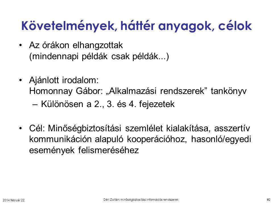 2014 február 22. Déri Zoltán: minőségbiztosítási információs rendszerek 43