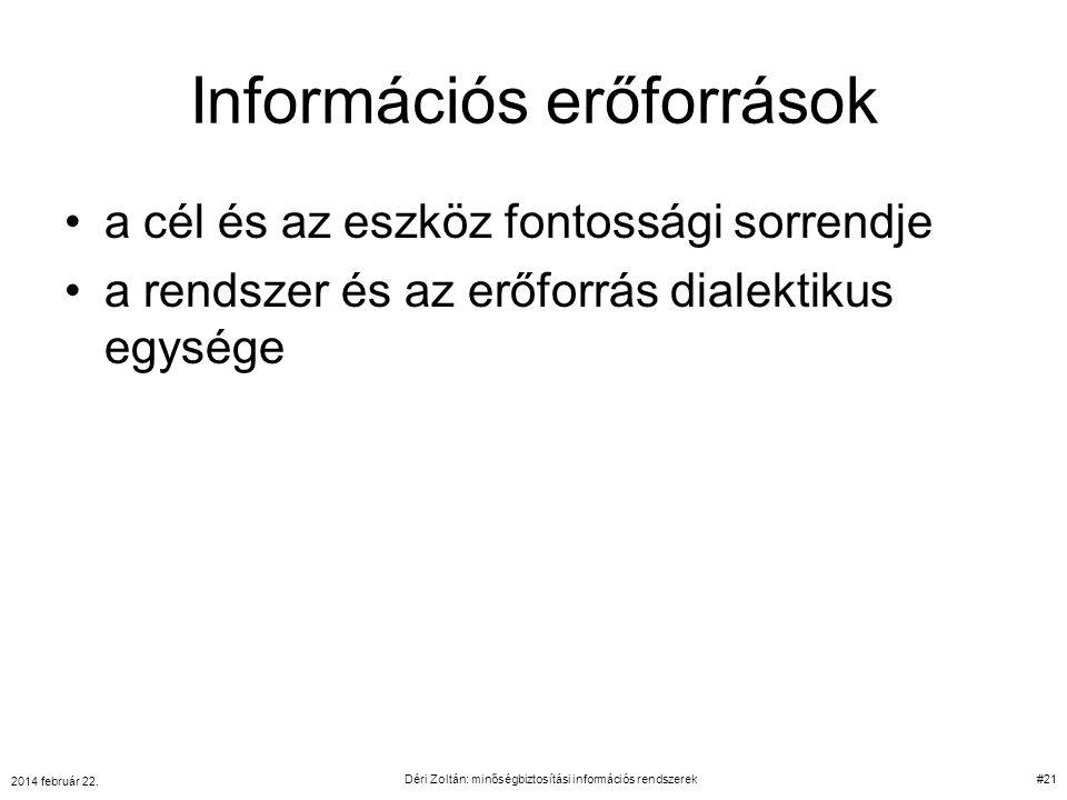 Információs erőforrások a cél és az eszköz fontossági sorrendje a rendszer és az erőforrás dialektikus egysége 2014 február 22. Déri Zoltán: minőségbi