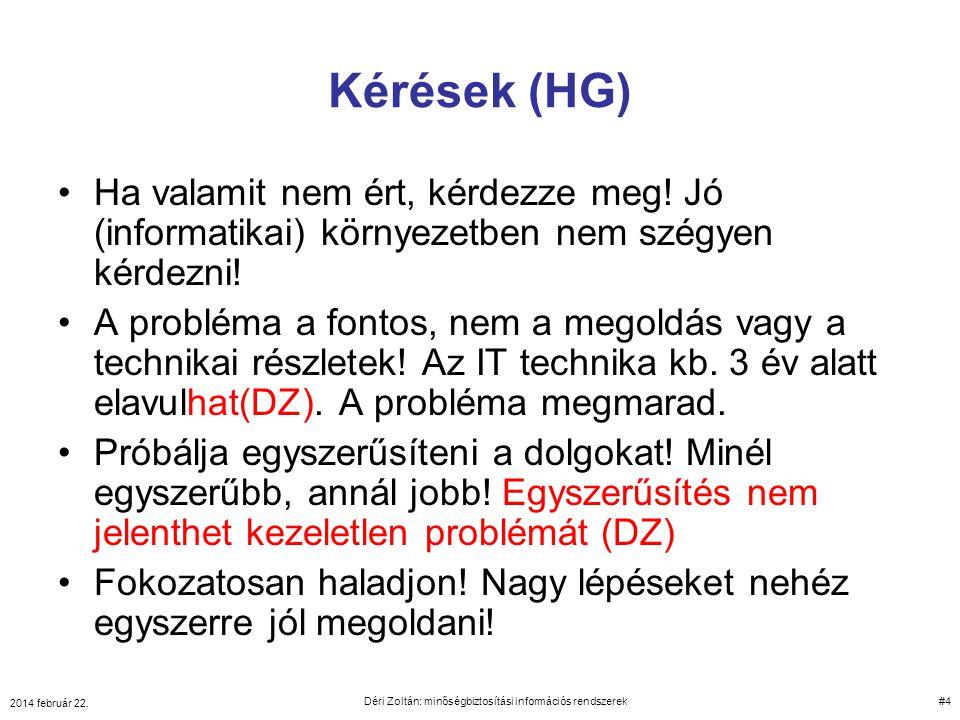 10 perc szünet 2014 február 22. Déri Zoltán: minőségbiztosítási információs rendszerek 125