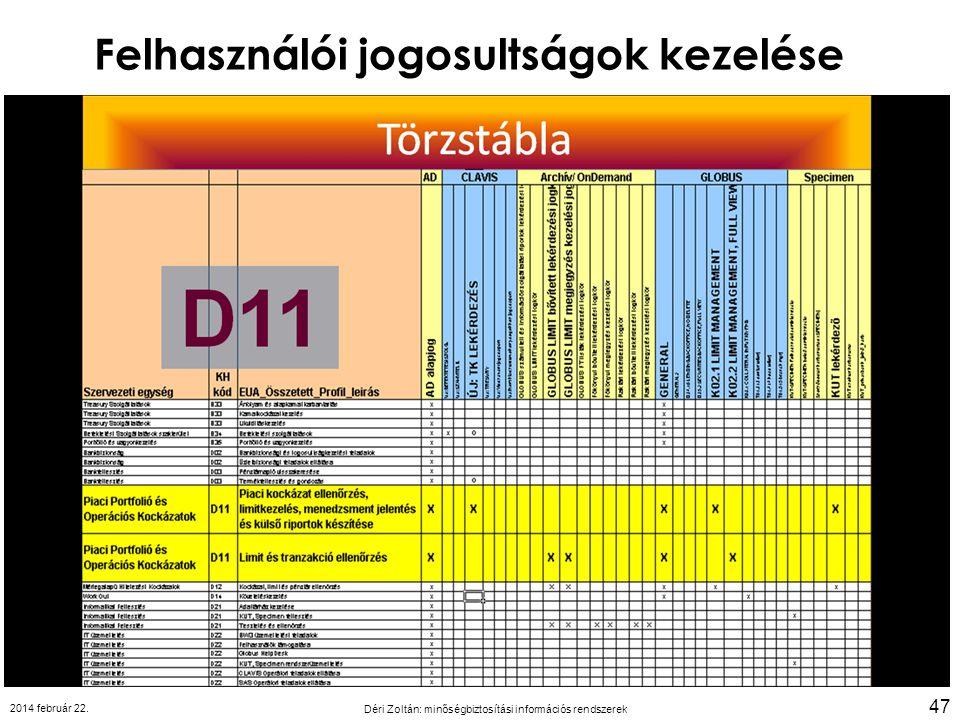 Felhasználói jogosultságok kezelése 2014 február 22. Déri Zoltán: minőségbiztosítási információs rendszerek 47
