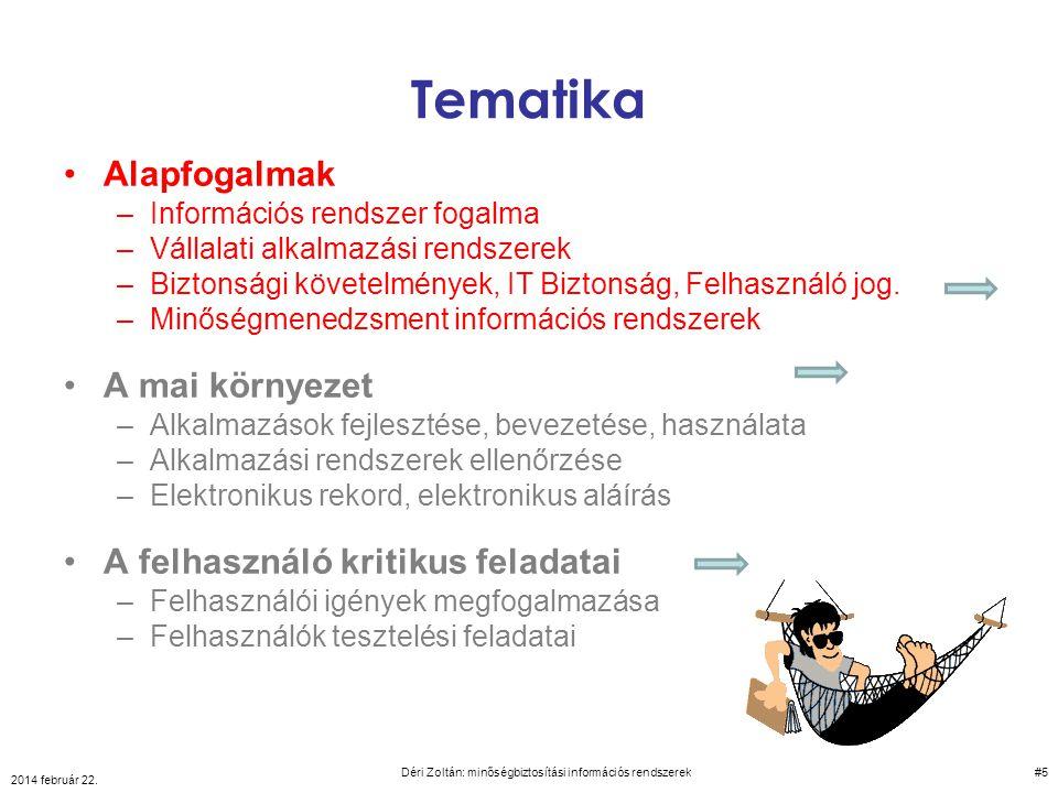 KLASSZIKUS PÉLDA: Informatika + belső és külső logisztika minőségbiztosítási információs rendszerek 2014 február 22.
