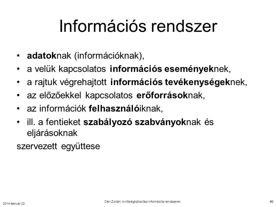 Információs rendszer adatoknak (információknak), a velük kapcsolatos információs eseményeknek, a rajtuk végrehajtott információs tevékenységeknek, az