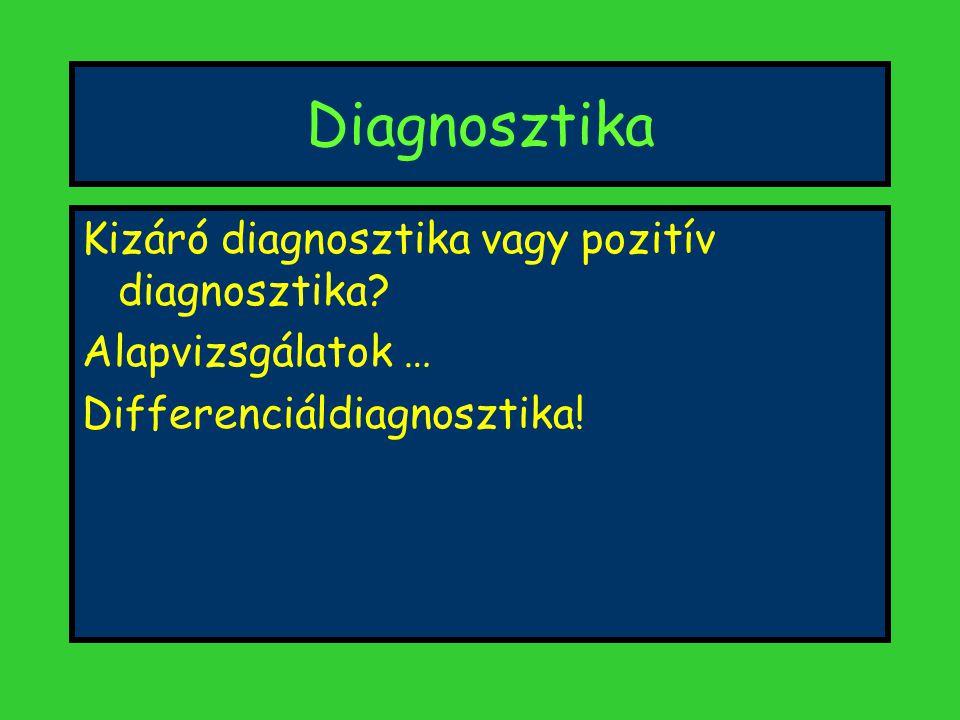 Diagnosztika Kizáró diagnosztika vagy pozitív diagnosztika? Alapvizsgálatok … Differenciáldiagnosztika!