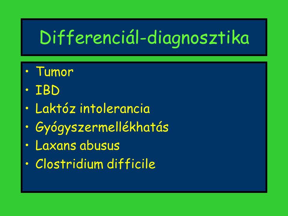 Differenciál-diagnosztika Tumor IBD Laktóz intolerancia Gyógyszermellékhatás Laxans abusus Clostridium difficile