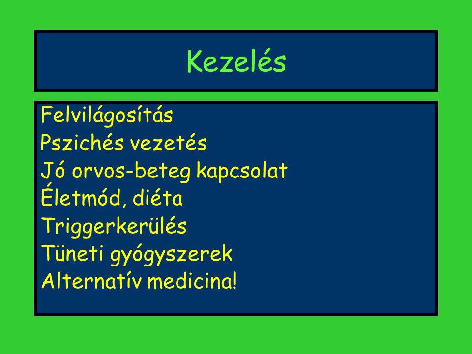 Kezelés Felvilágosítás Pszichés vezetés Jó orvos-beteg kapcsolat Életmód, diéta Triggerkerülés Tüneti gyógyszerek Alternatív medicina!