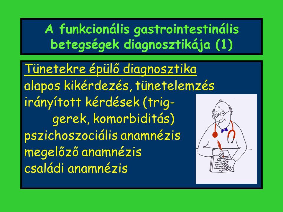 A funkcionális gastrointestinális betegségek diagnosztikája (1) Tünetekre épülő diagnosztika alapos kikérdezés, tünetelemzés irányított kérdések (trig- gerek, komorbiditás) pszichoszociális anamnézis megelőző anamnézis családi anamnézis