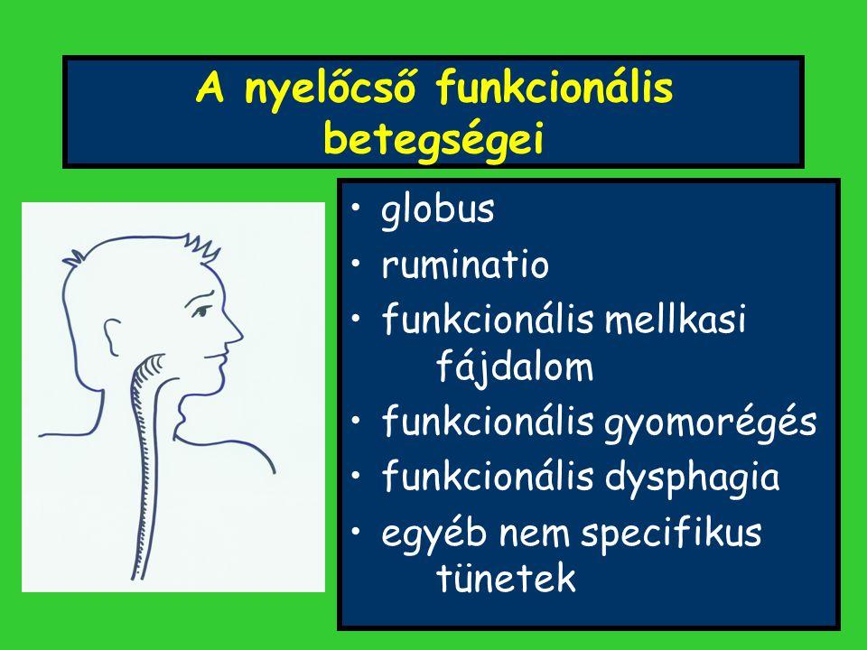 A nyelőcső funkcionális betegségei globus ruminatio funkcionális mellkasi fájdalom funkcionális gyomorégés funkcionális dysphagia egyéb nem specifikus