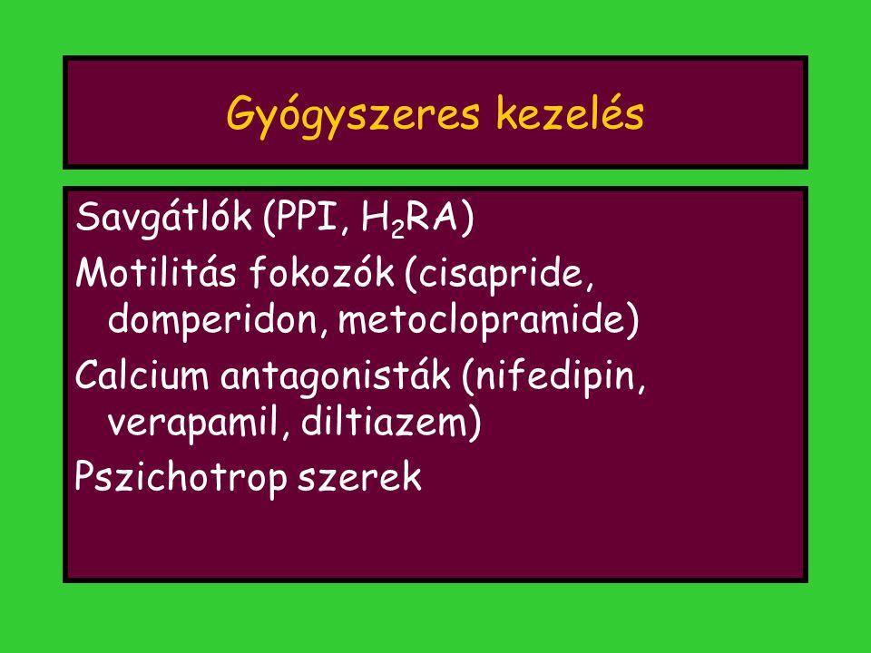 Gyógyszeres kezelés Savgátlók (PPI, H 2 RA) Motilitás fokozók (cisapride, domperidon, metoclopramide) Calcium antagonisták (nifedipin, verapamil, dilt