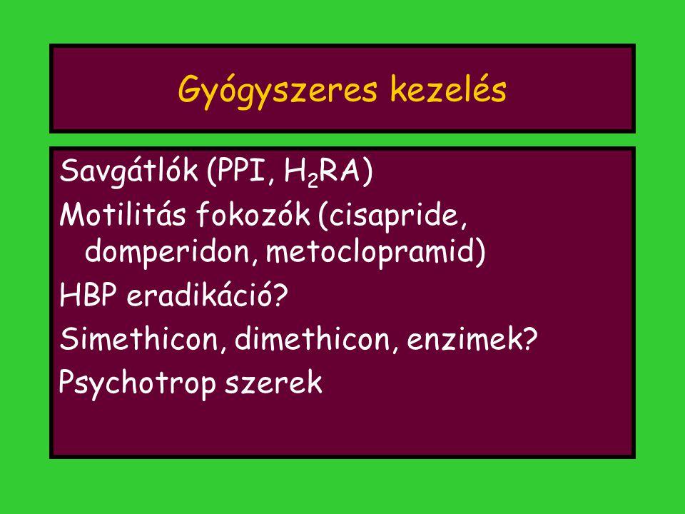 Gyógyszeres kezelés Savgátlók (PPI, H 2 RA) Motilitás fokozók (cisapride, domperidon, metoclopramid) HBP eradikáció? Simethicon, dimethicon, enzimek?