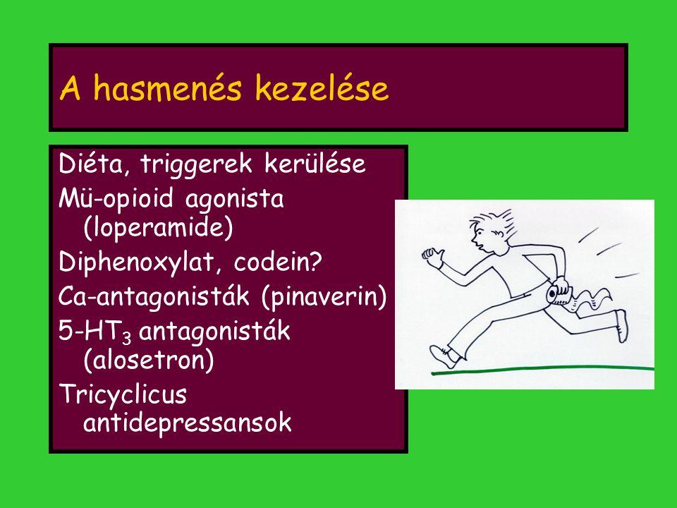 A hasmenés kezelése Diéta, triggerek kerülése Mü-opioid agonista (loperamide) Diphenoxylat, codein? Ca-antagonisták (pinaverin) 5-HT 3 antagonisták (a