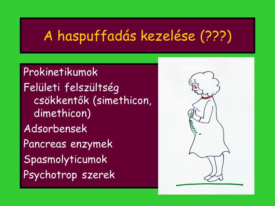 A haspuffadás kezelése (???) Prokinetikumok Felületi felszültség csökkentők (simethicon, dimethicon) Adsorbensek Pancreas enzymek Spasmolyticumok Psyc