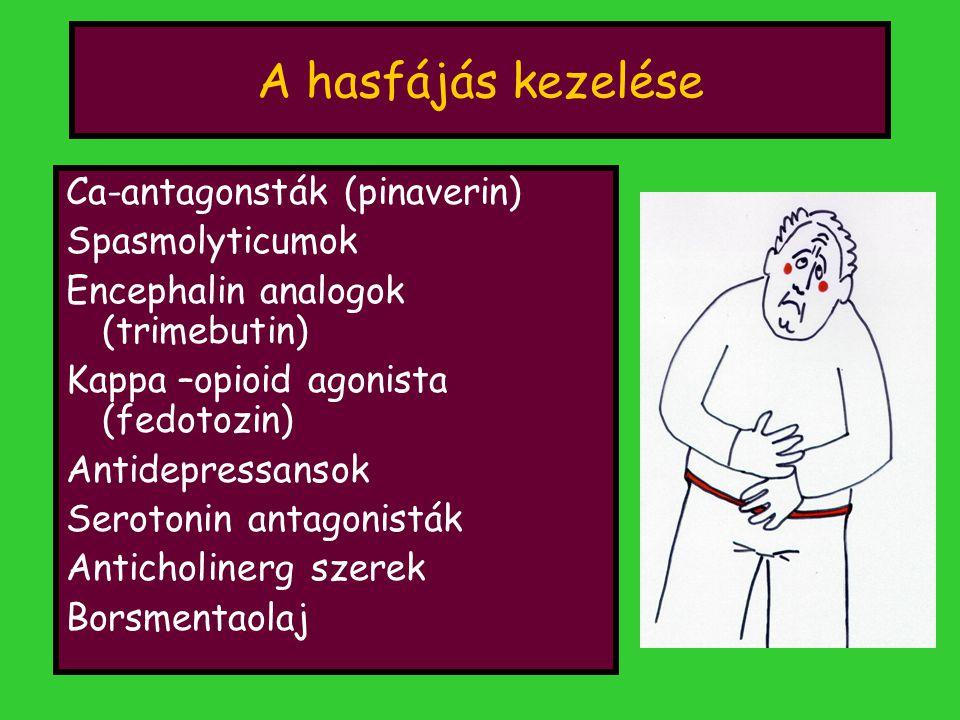 A hasfájás kezelése Ca-antagonsták (pinaverin) Spasmolyticumok Encephalin analogok (trimebutin) Kappa –opioid agonista (fedotozin) Antidepressansok Serotonin antagonisták Anticholinerg szerek Borsmentaolaj