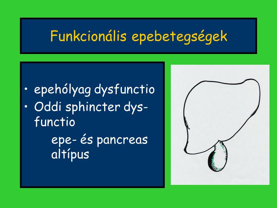 Funkcionális epebetegségek epehólyag dysfunctio Oddi sphincter dys- functio epe- és pancreas altípus