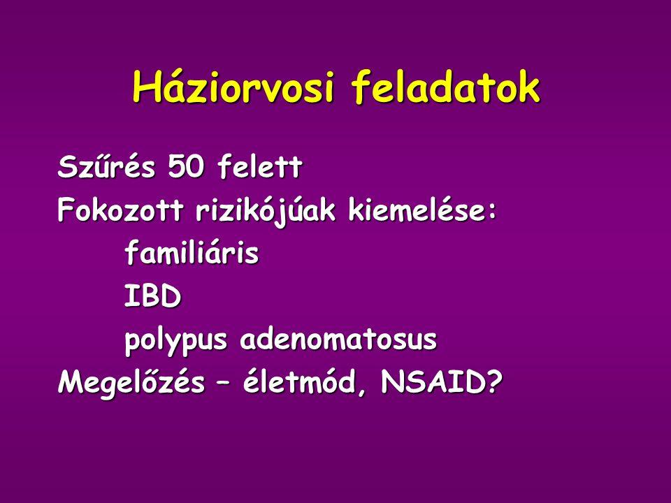 Kemoterápia Ftorafur = 5-FU: DNS szintézist gátol Leucovorin = Calcium folinát: 5-FU hatás biomodulálása Tomudex = Raltitrexed: kevesebb mellékhatás Oxaliplatin : áttéttesben Campto = Irinotecan: áttétesben lassít Xeloda = Capecitabine: per os Cetuximab = EGFR (epidermal growth factor receptor) ellenes monoclonalis AT
