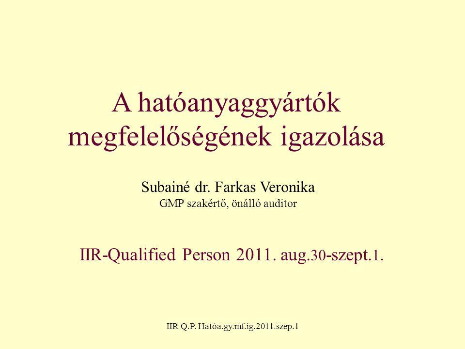 IIR Q.P. Hatóa.gy.mf.ig.2011.szep.1 A hatóanyaggyártók megfelelőségének igazolása Subainé dr. Farkas Veronika GMP szakértő, önálló auditor IIR-Qualifi