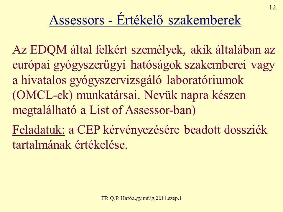 IIR Q.P. Hatóa.gy.mf.ig.2011.szep.1 Assessors - Értékelő szakemberek Az EDQM által felkért személyek, akik általában az európai gyógyszerügyi hatóságo