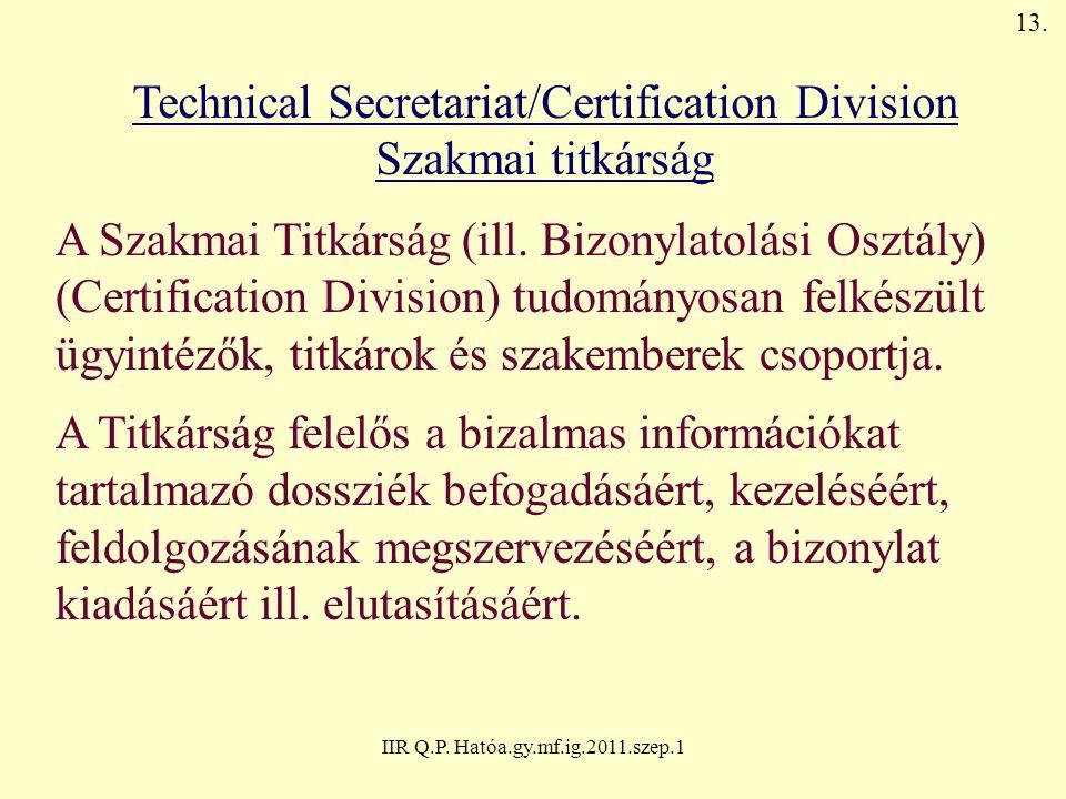 IIR Q.P. Hatóa.gy.mf.ig.2011.szep.1 Technical Secretariat/Certification Division Szakmai titkárság A Szakmai Titkárság (ill. Bizonylatolási Osztály) (