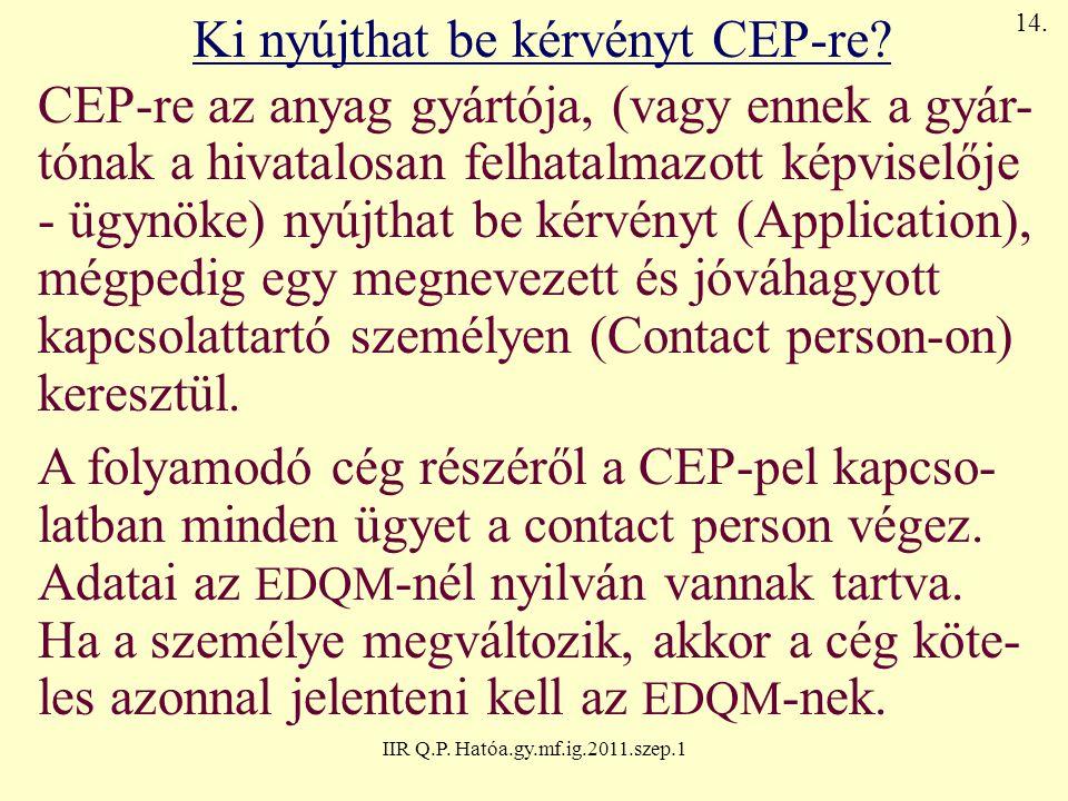 IIR Q.P. Hatóa.gy.mf.ig.2011.szep.1 Ki nyújthat be kérvényt CEP-re? CEP-re az anyag gyártója, (vagy ennek a gyár- tónak a hivatalosan felhatalmazott k