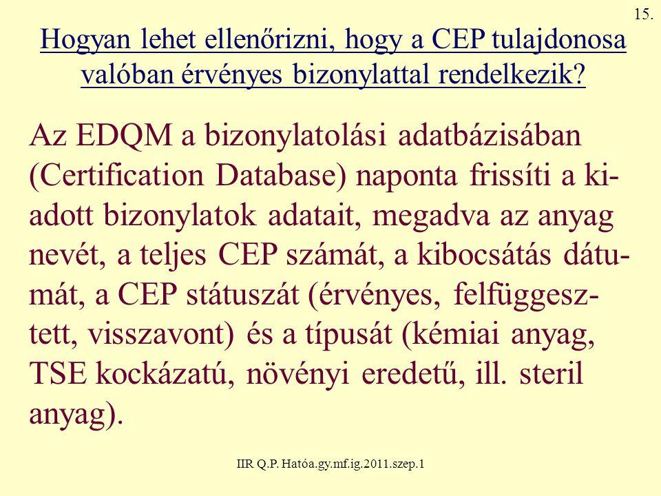 IIR Q.P. Hatóa.gy.mf.ig.2011.szep.1 Hogyan lehet ellenőrizni, hogy a CEP tulajdonosa valóban érvényes bizonylattal rendelkezik? Az EDQM a bizonylatolá
