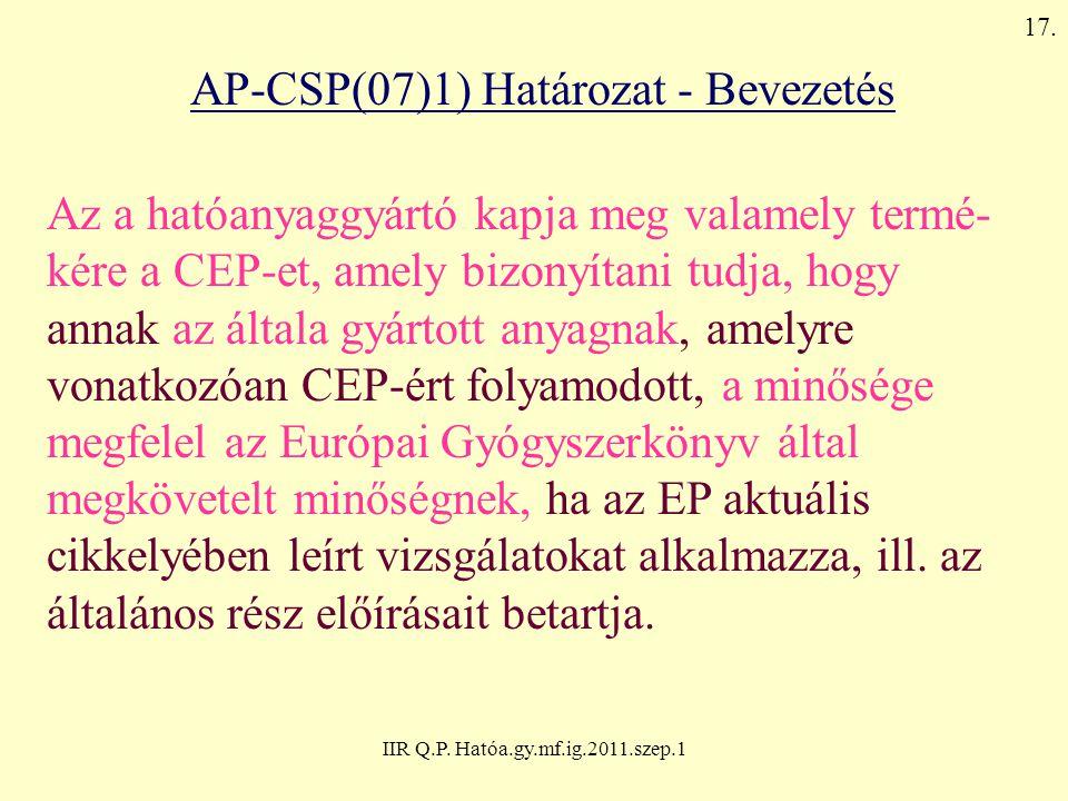 IIR Q.P. Hatóa.gy.mf.ig.2011.szep.1 AP-CSP(07)1) Határozat - Bevezetés Az a hatóanyaggyártó kapja meg valamely termé- kére a CEP-et, amely bizonyítani