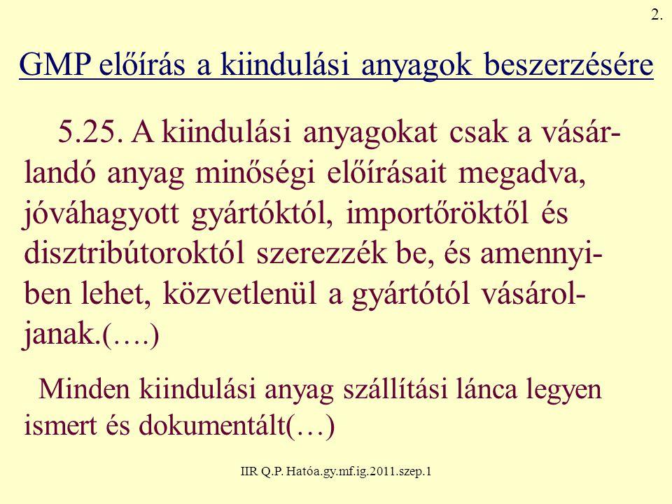 IIR Q.P.Hatóa.gy.mf.ig.2011.szep.1 Az előadás témakörei 1.