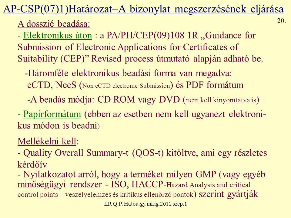 IIR Q.P. Hatóa.gy.mf.ig.2011.szep.1 AP-CSP(07)1)Határozat–A bizonylat megszerzésének eljárása A dosszié beadása: - Elektronikus úton : a PA/PH/CEP(09)