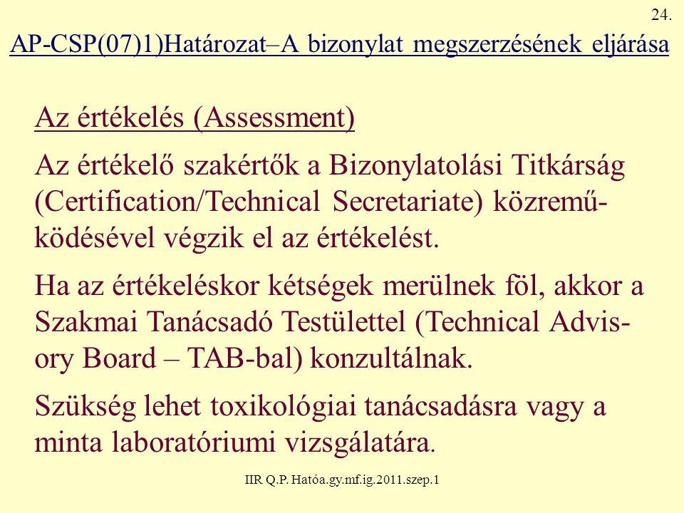 IIR Q.P. Hatóa.gy.mf.ig.2011.szep.1 AP-CSP(07)1)Határozat–A bizonylat megszerzésének eljárása Az értékelés (Assessment) Az értékelő szakértők a Bizony