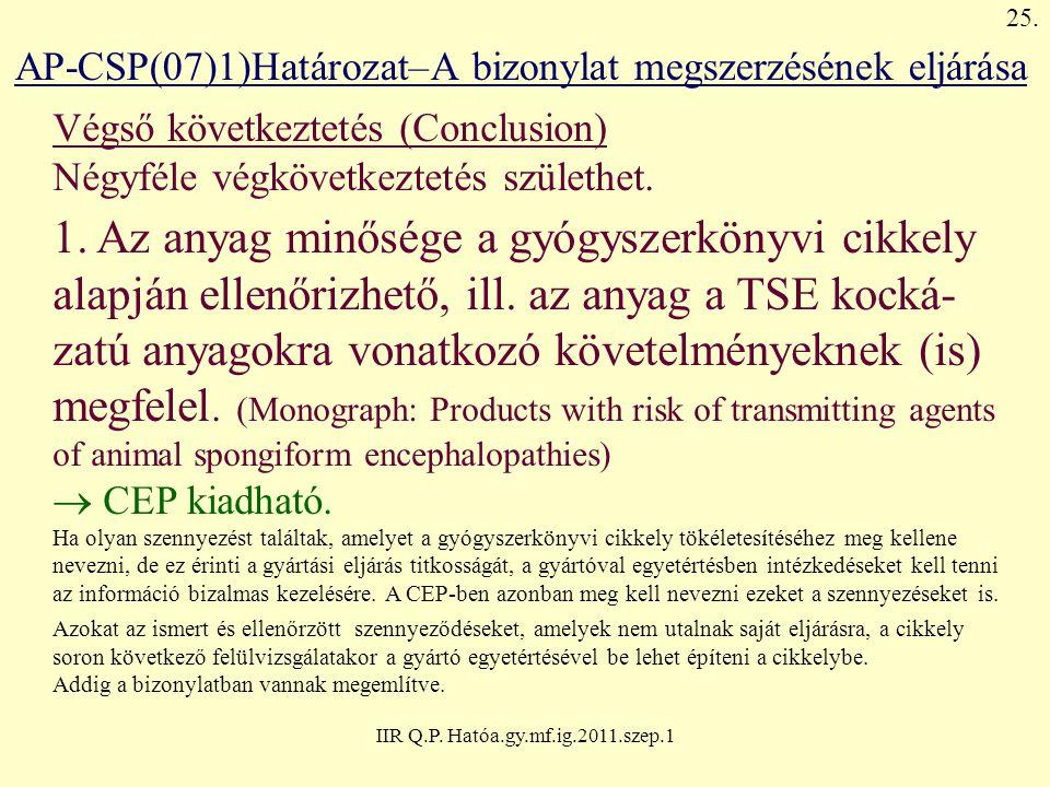IIR Q.P. Hatóa.gy.mf.ig.2011.szep.1 AP-CSP(07)1)Határozat–A bizonylat megszerzésének eljárása Végső következtetés (Conclusion) Négyféle végkövetkeztet