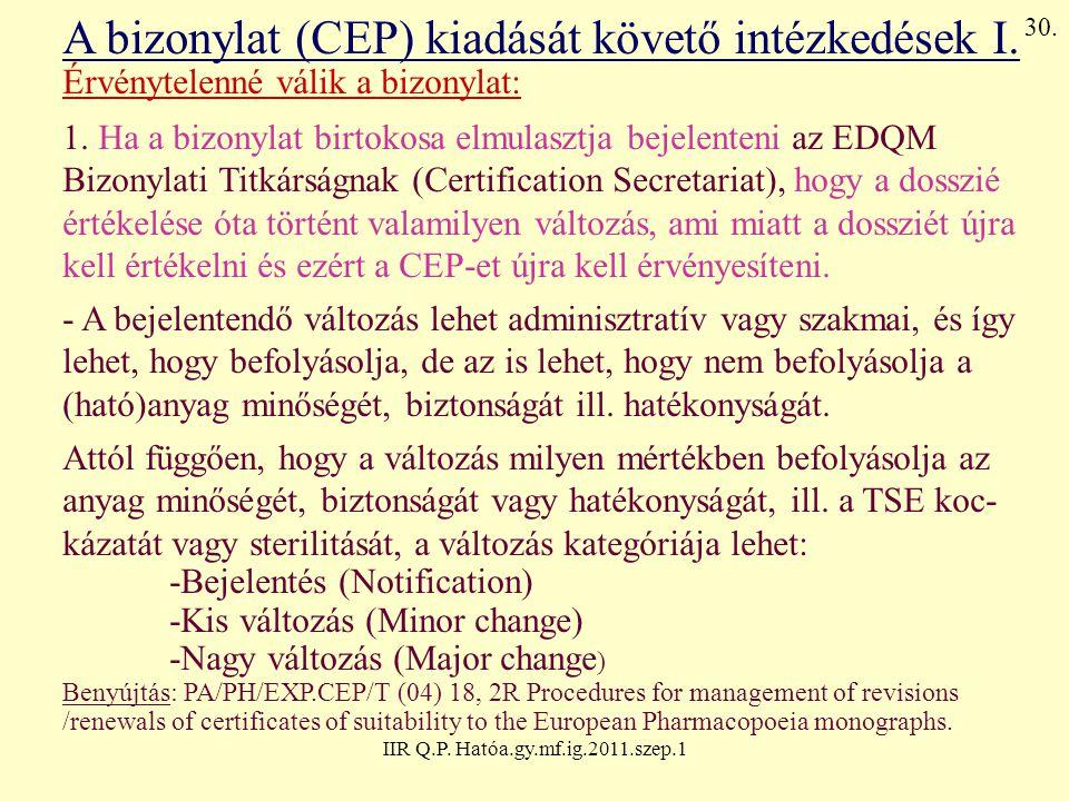 IIR Q.P. Hatóa.gy.mf.ig.2011.szep.1 A bizonylat (CEP) kiadását követő intézkedések I. Érvénytelenné válik a bizonylat: 1. Ha a bizonylat birtokosa elm