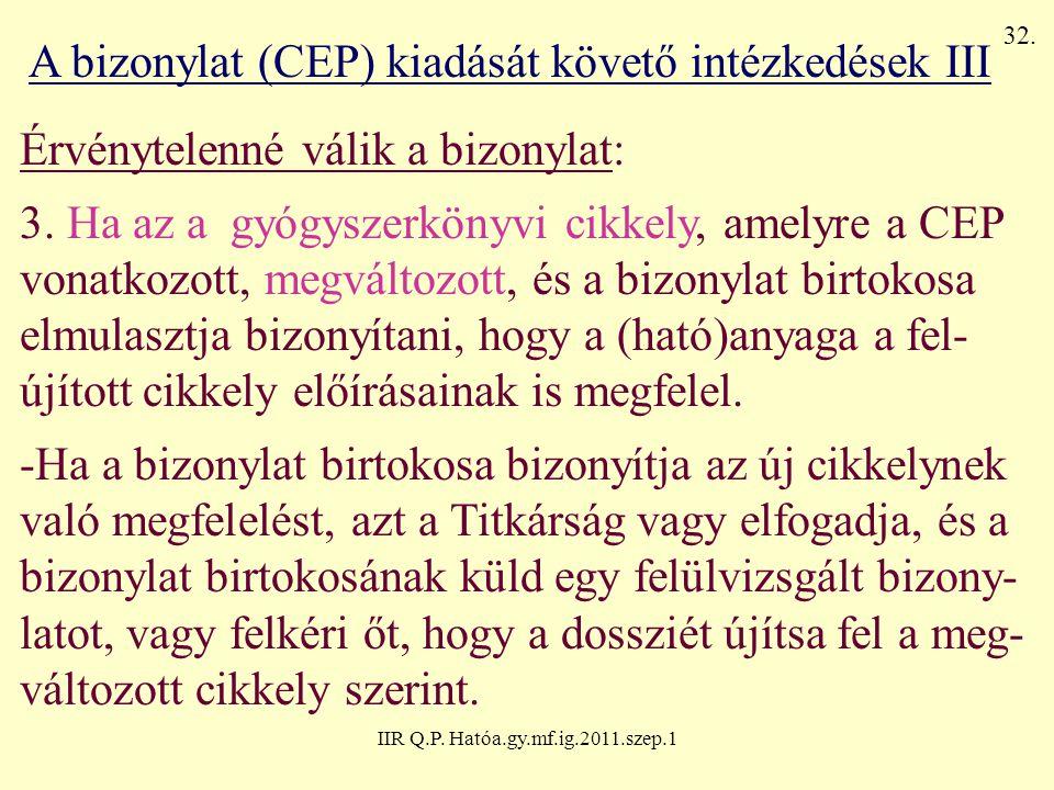 IIR Q.P. Hatóa.gy.mf.ig.2011.szep.1 A bizonylat (CEP) kiadását követő intézkedések III Érvénytelenné válik a bizonylat: 3. Ha az a gyógyszerkönyvi cik