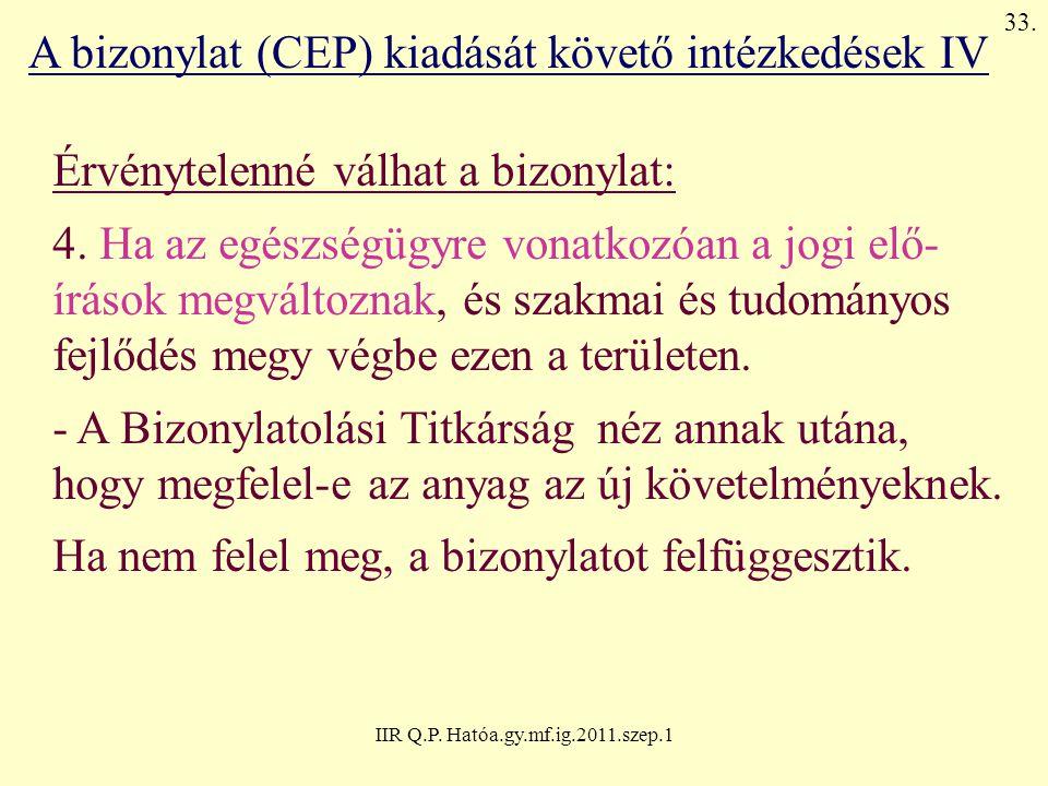 IIR Q.P. Hatóa.gy.mf.ig.2011.szep.1 A bizonylat (CEP) kiadását követő intézkedések IV Érvénytelenné válhat a bizonylat: 4. Ha az egészségügyre vonatko