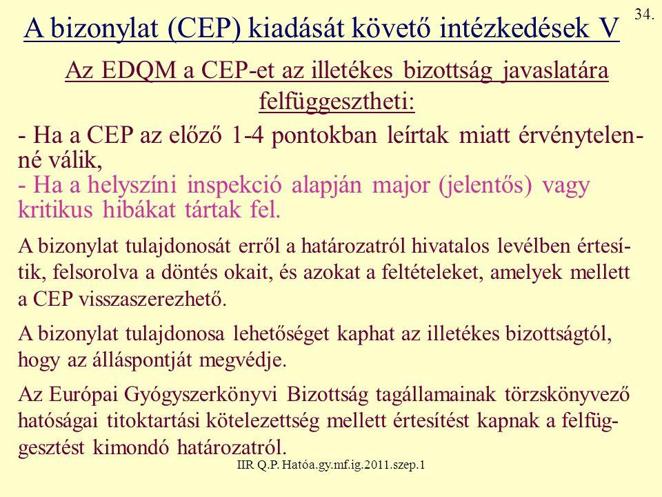 IIR Q.P. Hatóa.gy.mf.ig.2011.szep.1 A bizonylat (CEP) kiadását követő intézkedések V Az EDQM a CEP-et az illetékes bizottság javaslatára felfüggeszthe