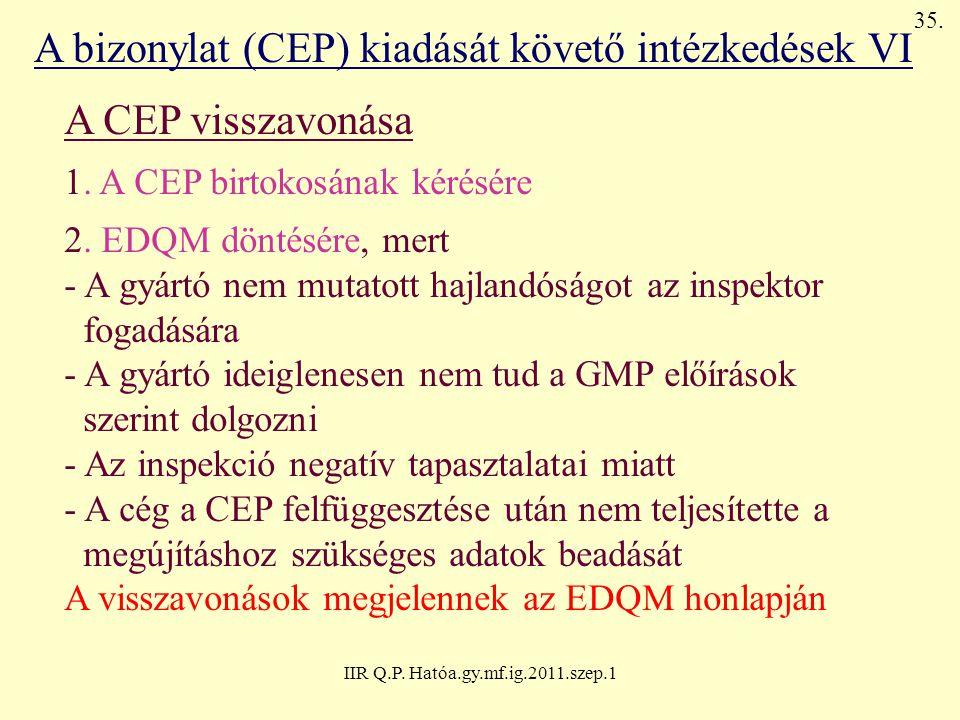 IIR Q.P. Hatóa.gy.mf.ig.2011.szep.1 A bizonylat (CEP) kiadását követő intézkedések VI A CEP visszavonása 1. A CEP birtokosának kérésére 2. EDQM döntés