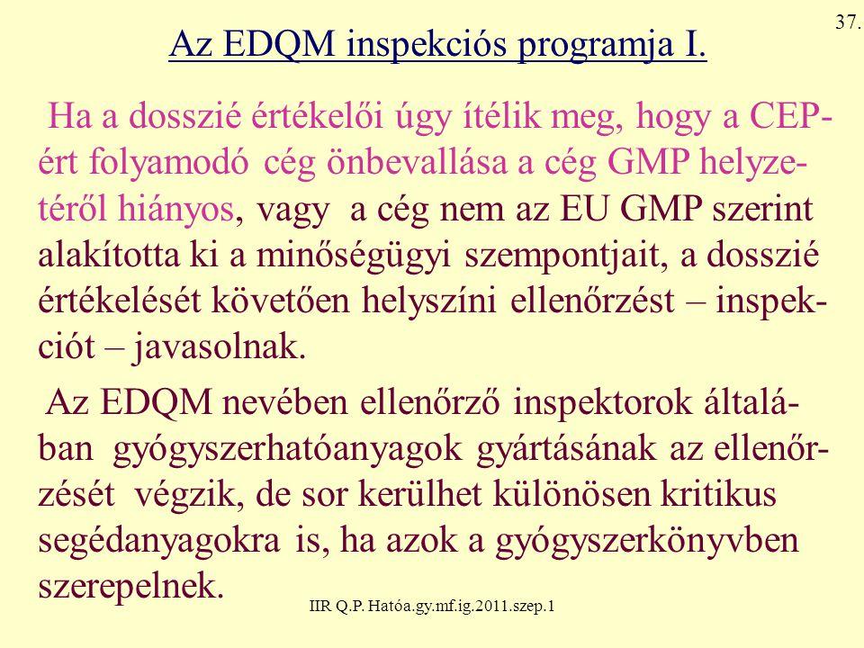 IIR Q.P. Hatóa.gy.mf.ig.2011.szep.1 Az EDQM inspekciós programja I. Ha a dosszié értékelői úgy ítélik meg, hogy a CEP- ért folyamodó cég önbevallása a