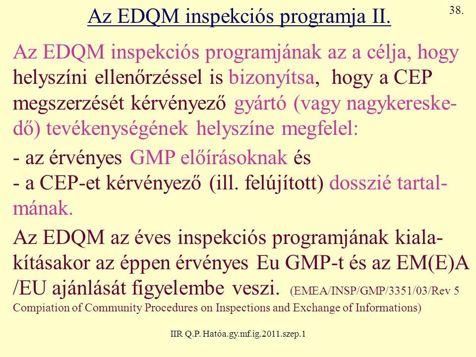IIR Q.P. Hatóa.gy.mf.ig.2011.szep.1 Az EDQM inspekciós programja II. Az EDQM inspekciós programjának az a célja, hogy helyszíni ellenőrzéssel is bizon