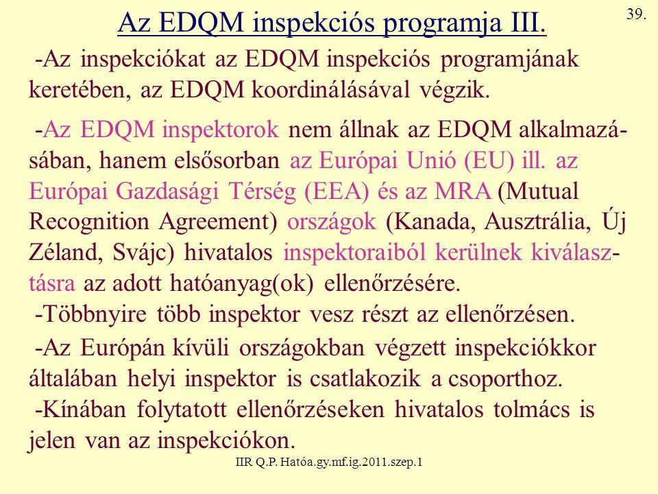 IIR Q.P. Hatóa.gy.mf.ig.2011.szep.1 Az EDQM inspekciós programja III. -Az inspekciókat az EDQM inspekciós programjának keretében, az EDQM koordinálásá