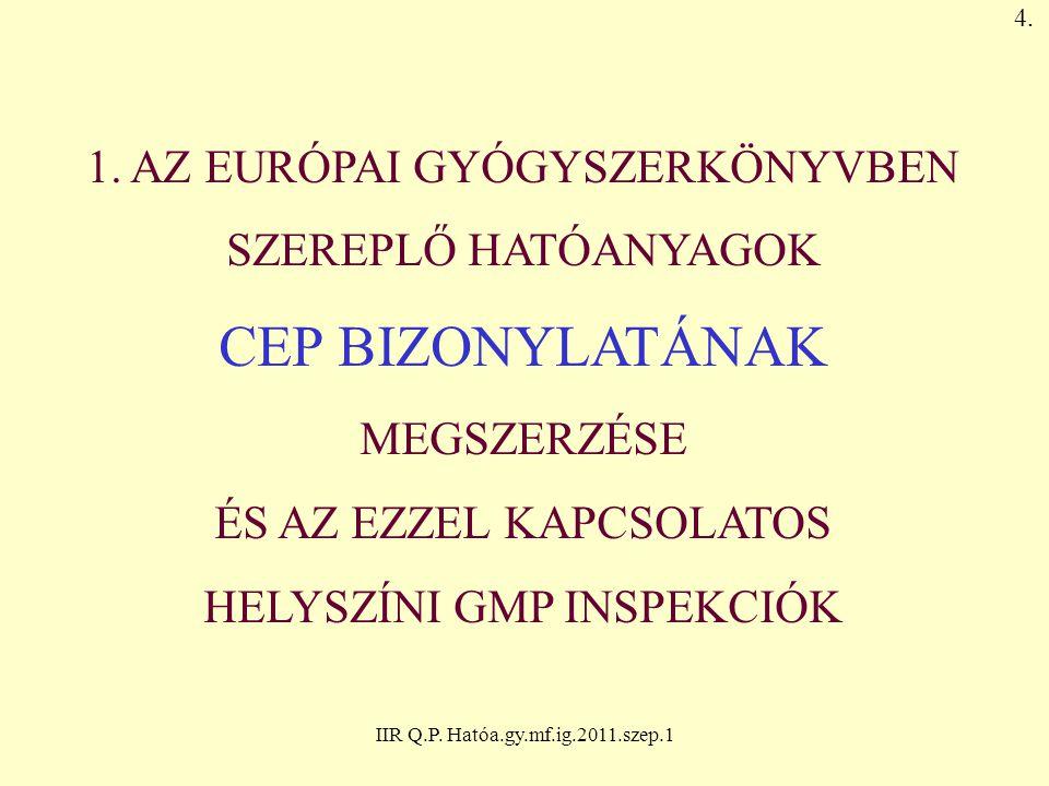 IIR Q.P. Hatóa.gy.mf.ig.2011.szep.1 1. AZ EURÓPAI GYÓGYSZERKÖNYVBEN SZEREPLŐ HATÓANYAGOK CEP BIZONYLATÁNAK MEGSZERZÉSE ÉS AZ EZZEL KAPCSOLATOS HELYSZÍ