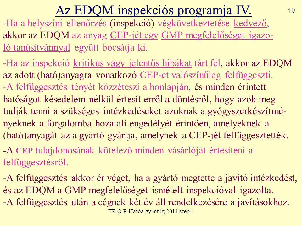 IIR Q.P. Hatóa.gy.mf.ig.2011.szep.1 Az EDQM inspekciós programja IV. -Ha a helyszíni ellenőrzés (inspekció) végkövetkeztetése kedvező, akkor az EDQM a