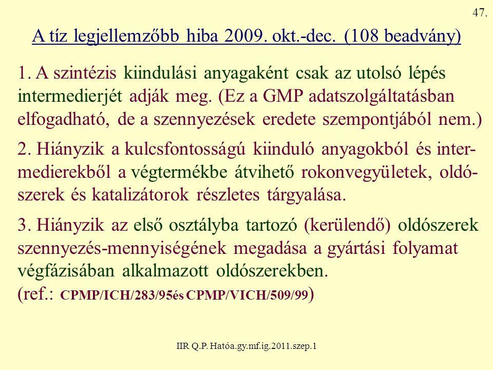 IIR Q.P. Hatóa.gy.mf.ig.2011.szep.1 A tíz legjellemzőbb hiba 2009. okt.-dec. (108 beadvány) 1. A szintézis kiindulási anyagaként csak az utolsó lépés