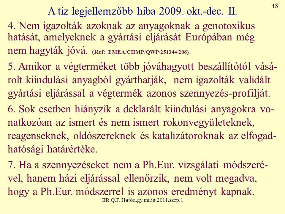 IIR Q.P. Hatóa.gy.mf.ig.2011.szep.1 A tíz legjellemzőbb hiba 2009. okt.-dec. II. 4. Nem igazolták azoknak az anyagoknak a genotoxikus hatását, amelyek