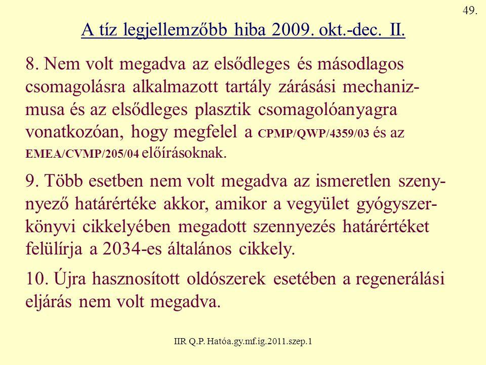 IIR Q.P. Hatóa.gy.mf.ig.2011.szep.1 A tíz legjellemzőbb hiba 2009. okt.-dec. II. 8. Nem volt megadva az elsődleges és másodlagos csomagolásra alkalmaz