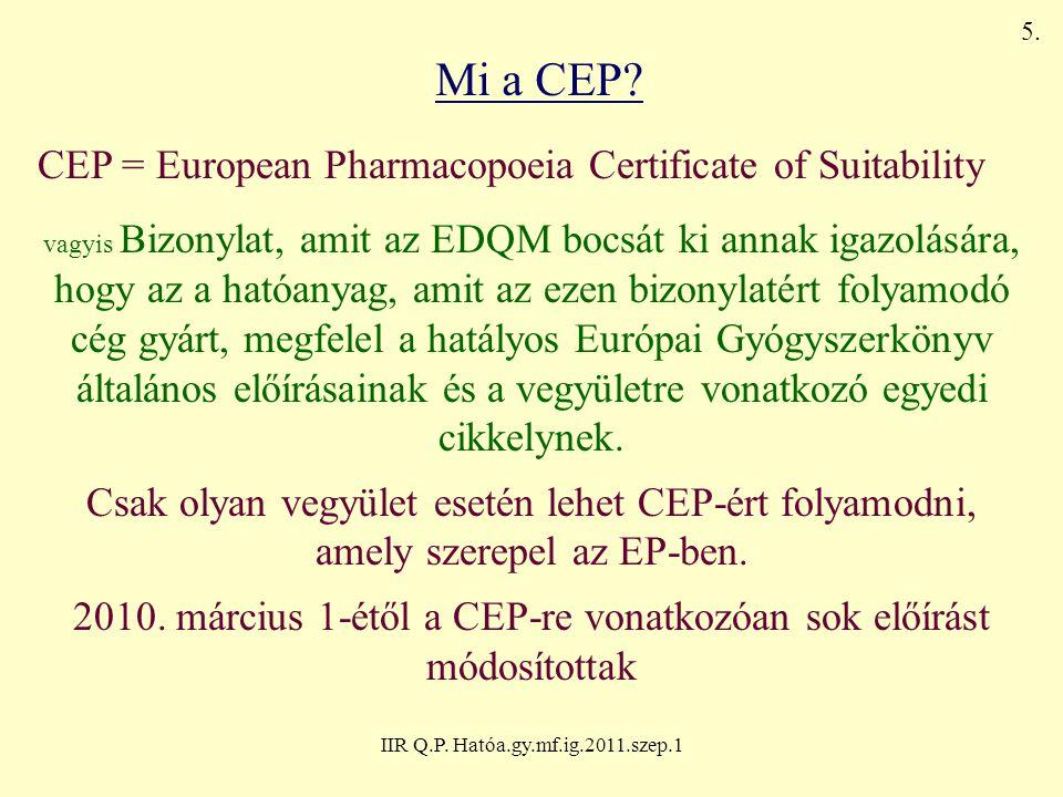 IIR Q.P. Hatóa.gy.mf.ig.2011.szep.1 Mi a CEP? CEP = European Pharmacopoeia Certificate of Suitability vagyis Bizonylat, amit az EDQM bocsát ki annak i