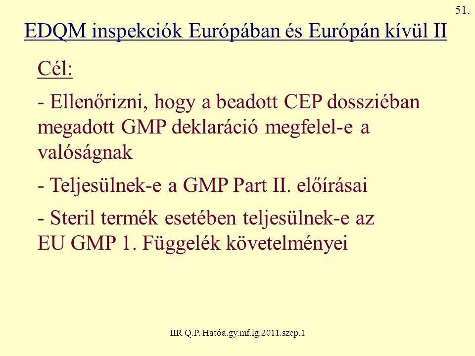 IIR Q.P. Hatóa.gy.mf.ig.2011.szep.1 EDQM inspekciók Európában és Európán kívül II Cél: - Ellenőrizni, hogy a beadott CEP dossziéban megadott GMP dekla