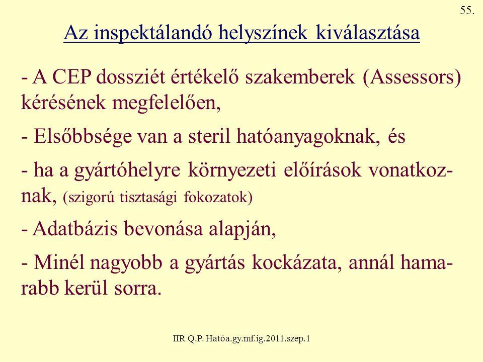 IIR Q.P. Hatóa.gy.mf.ig.2011.szep.1 Az inspektálandó helyszínek kiválasztása - A CEP dossziét értékelő szakemberek (Assessors) kérésének megfelelően,