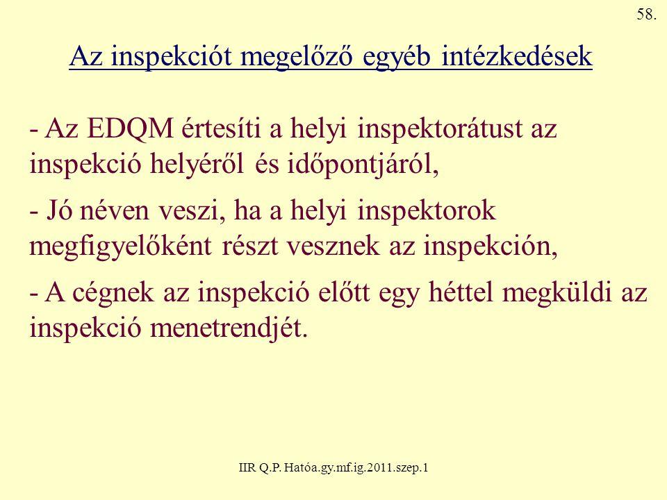 IIR Q.P. Hatóa.gy.mf.ig.2011.szep.1 Az inspekciót megelőző egyéb intézkedések - Az EDQM értesíti a helyi inspektorátust az inspekció helyéről és időpo